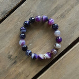 grape purple striped agate protection bracelet 10mm