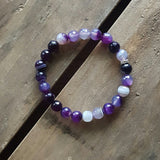 grape purple striped agate protection bracelet 8mm