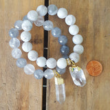 "12mm cloud grey and clear quartz beads clear and gold dipped 1"" to 1.25"" charm bracelets"