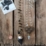 "38"" long quartz chips brass rosary chain necklaces w pendants wear unique bridal fashion"