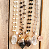 brass & pewter rosary chain smoke & crystal quarts nugget fw pearl pendant necklaces