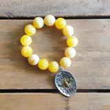 "Protection Bracelet 16mm yellow fire agate faceted beads 2"" long silver gold color queen bee charm"