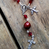 one decade garnet crystals chaplet with dove & cross for holy confirmation