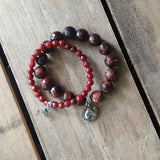 protection bracelets w equestrian charms oxblood red jade & agate quality stretch stone w horse charm