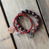 protection bracelets w equestrian charms oxblood red jade & agate quality stretch stone w horse charms