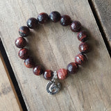 protection bracelet red tiger ey agate 12mm w silver tone horse head & shoe charm quality stretch