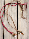 brn & red leather amber vintage crystal freshwater pearl dangles long necklace