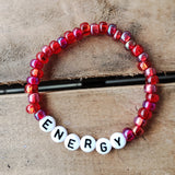 garnet reds Czech 6mm beads with letter beads spelling ENERGY Message Bracelet
