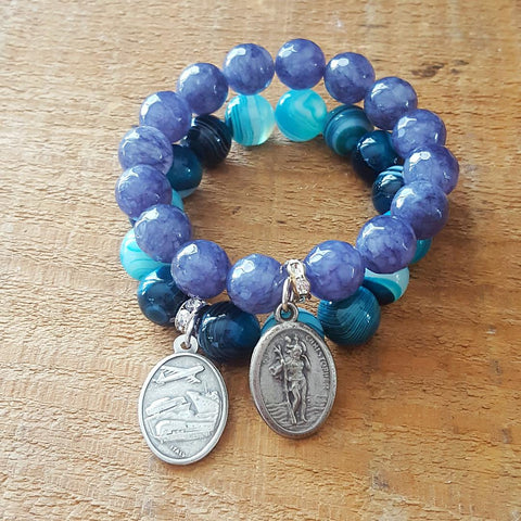 "protection bracelets by Marinella jewelry 12mm agate jade periwinkle teal strips w pewter oval 1"" medals saint Christopher"