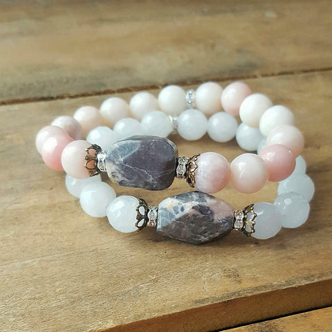 protection bracelets by Marinella natural grey pink stone center 10mm round beads quality stretch stacked bracelets