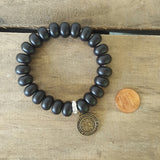 protection bead bracelet black howlite stone rondelle brass St. Christopher round medal penny for size ref