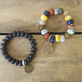 protection bead bracelets stone rondelle St. Christopher & land sea air brass medals