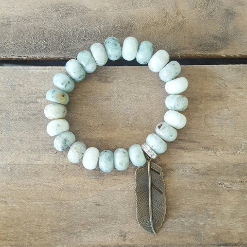 protection bead bracelet jadeite stone rondelle vintage brass feather charm