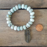 protection bead bracelet jadeite stone rondelle vintage brass feather charm penny for size ref