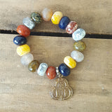 protection bead bracelet multi color agate stone rondelle brass land sea air medal