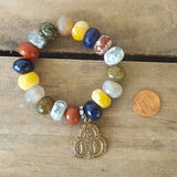 protection bead bracelet multi color agate stone rondelle brass land sea air medal penny for size ref