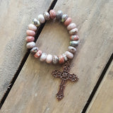 protection bead bracelet pale rose stone rondelle copper cross medal