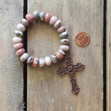 protection bead bracelet pale rose stone rondelle copper cross medal penny for ref