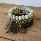 protection bead bracelets stack of 3 stone rondelle various brass medals charms