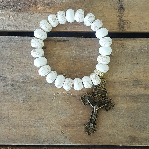 "protection bead bracelet howlite 12mm 2"" bronze pardon crucifix medal"