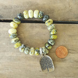 protection bead bracelet yellow turquoise stone rondelle vintage tree charm penny for size ref