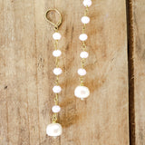 "10mm lt. pink brass rosary chain & freshwater white pearl 4"" long duster earrings"