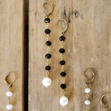 "10mm black brass rosary chain & freshwater white pearl 4"" long duster earrings"