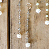 "10mm smoke pewter rosary chain & freshwater white pearl 4"" long duster earrings"