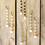 "10mm rosary chain & freshwater white pearl 4"" long duster earrings"