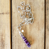 "29"" long smoke crystal rosary chain necklace w 2"" purple jasper point & 6mm freshwater pearl pendant"