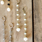"10mm oyster brass rosary chain & freshwater white pearl 4"" long duster earrings"