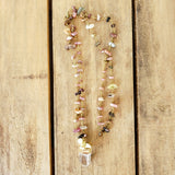 "28"" long tourmaline chips brass rosary chain 1"" long crystal quartz pearl pendants necklace"
