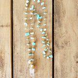 "28"" long amazonite chips brass rosary chain 1"" long crystal quartz pearl pendants necklace"