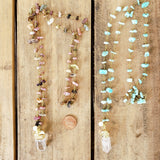 "28"" long amazonite & tourmaline chips brass rosary chain 1"" long crystal quartz pearl pendants necklaces"