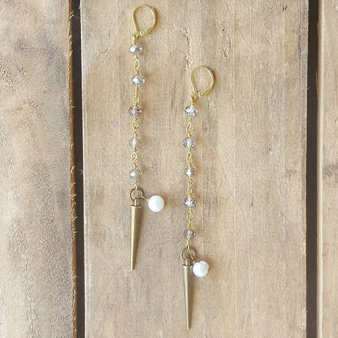 "Marinella jewelry duster earrings 4"" long rosary chain vintage spike and freshwater pearls dangle brass ear wires"