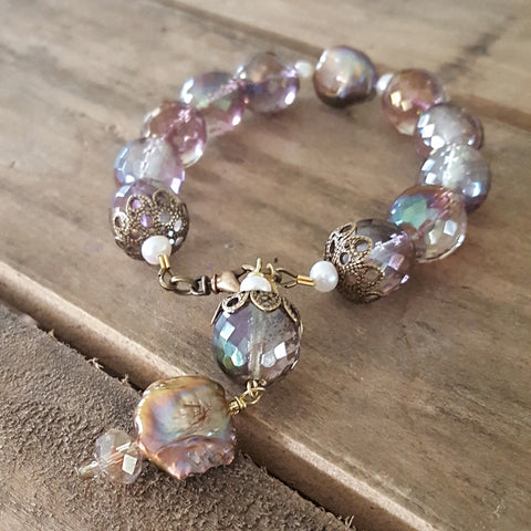 bridal bracelet by Marinella jewelry 14mm blush rose crystals brass and freshwater pearls