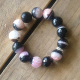 protection bracelet by Marinella jewelry 16mm quartz pink and black stones quality stretch