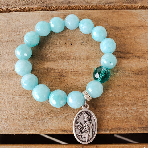 "teal jade aqua prayer bead 12mm beads 1"" oval St. Dominic medal stretch bracelet"
