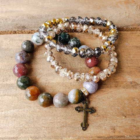 12mm Indian agate gemstone beads brass cross charm quality stretch bracelet
