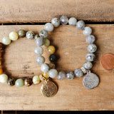 10mm gemstone beads quality stretch bracelet cross relic coins medals