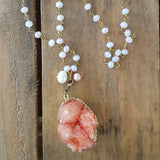 "necklace by Marinella jewelry 32"" long light pink brass rosary chain 44mm salmon pink druzy removable pendant"