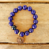 12mm cobalt blue agate beads w St. Expeditus medal prayer bead  quality stretch bracelet