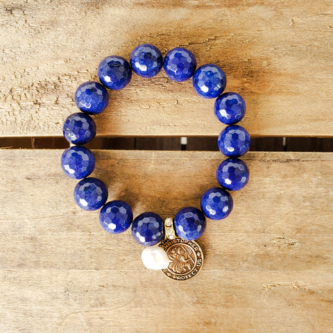12mm cobalt blue agate beads w St. Christopher medal pearl drop quality stretch bracelet
