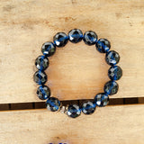 12mm Sapphire blue color Czech beads quality stretch protection bracelet