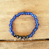 Czech blue tube beads w letter beads FOCUS quality stretch bracelet