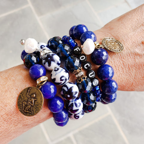 Sapphire blue September birthstone collection quality stretch bead bracelets