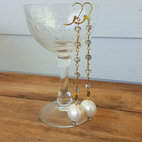 "5"" long brass rosary chain w 22mm shell pearl drop duster earrings"