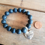 "12mm matte black agate gemstones beads w 1"" heart shaped charm stamped with the word LOVE"