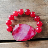 40mm red pink Agate gemstone gold edge w 14mm red smooth beads vintage rhinestones stretch bracelet