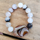 25mm gemstone striped agate oval w 12mm shadow agate beads vintage rhinestones bracelet